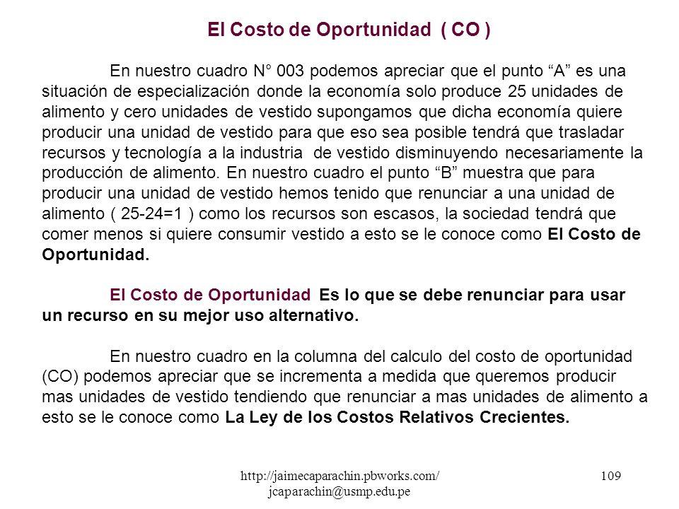 http://jaimecaparachin.pbworks.com/ jcaparachin@usmp.edu.pe 108 CUADRO N° 003 Costo de Oportunidad ( C.O ) PuntosvestidoAlimento A 0 25 B 1 24 C 2 22.