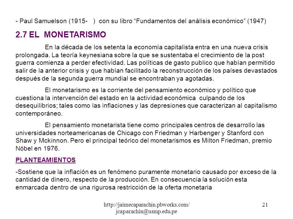 http://jaimecaparachin.pbworks.com/ jcaparachin@usmp.edu.pe 20 PLANTEAMIENTOS - Keynes postula que el estado debería participar en la actividad económ