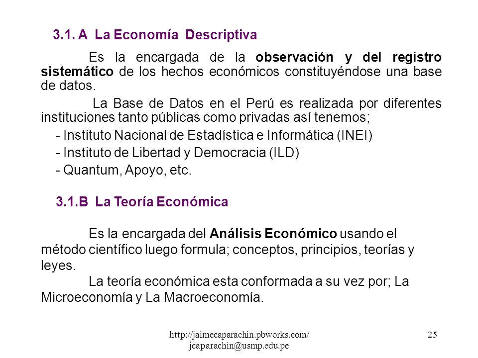 http://jaimecaparachin.pbworks.com/ jcaparachin@usmp.edu.pe 24 3. LA DIVISIÓN DE LA ECONOMÍA 3.1 La Economía Positiva La economía como ciencia hace us