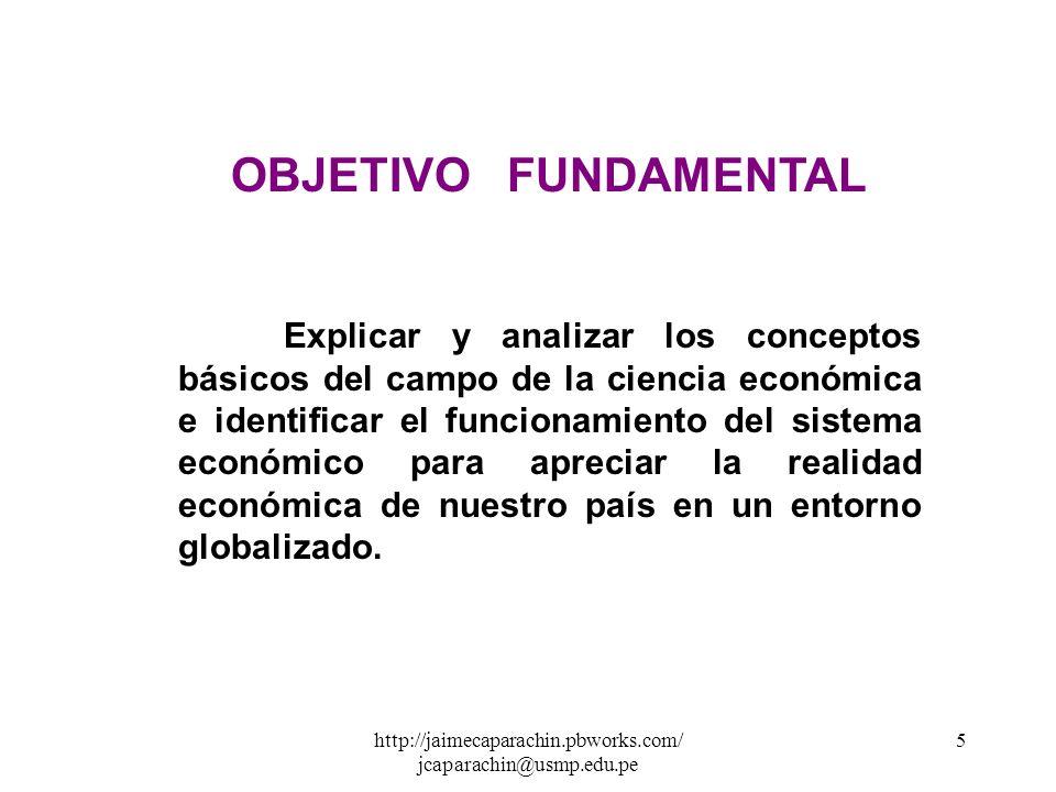 http://jaimecaparachin.pbworks.com/ jcaparachin@usmp.edu.pe 75 Ejercicio: Determinar el punto de equilibrio de mercado del artículo X sabiendo que las funciones de oferta y demanda son: X d = 300 - 2P d x X s = 80 + 3P s x Solución: ( I ) Aplicamos las Condiciones de Equilibrio : 1 ra Condición de Equilibrio X d = X s 300 - 2P d x = 80 + 3 P s x 2da Condición de Equilibrio Px d = Px s = Px 300 - 2Px = 80 + 3Px 300 - 80 = 3Px + 2Px 220 = 5Px Px = 220 5 = 4 4