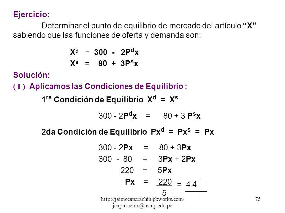 http://jaimecaparachin.pbworks.com/ jcaparachin@usmp.edu.pe 74 Equilibrio de Mercado Las fuerzas de la oferta y la demanda generan a través del mercad