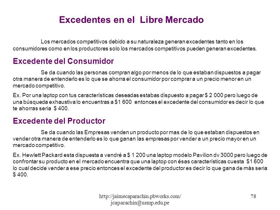 http://jaimecaparachin.pbworks.com/ jcaparachin@usmp.edu.pe 77 Px X D Pe* Xe* S E Excedente del Consumidor Excedente del Productor EXCEDENTES EN EL LI