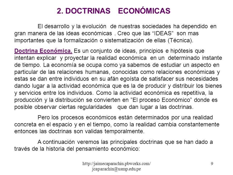 http://jaimecaparachin.pbworks.com/ jcaparachin@usmp.edu.pe 8 Algunos conceptos de Economía, que se han dado desde mediados del siglo XX, intentos que