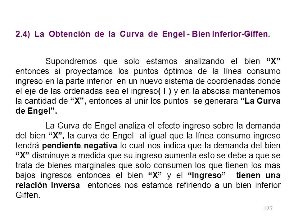 126 Gráfico de la Línea Consumo - Ingreso Bien Inferior - Giffen Línea Consumo Precio X Y I2I2 Px I1I1 I0I0 I ( Px,Py ) I 2 > I 1 > I 0