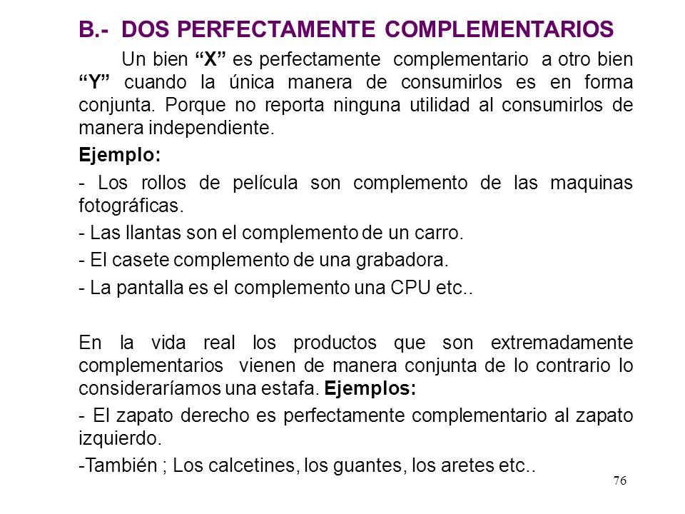 75 A. El caso de dos sustitutos perfectos CRISTAL CUZQUEÑA U1U1 U2U2 U 2 > U 1
