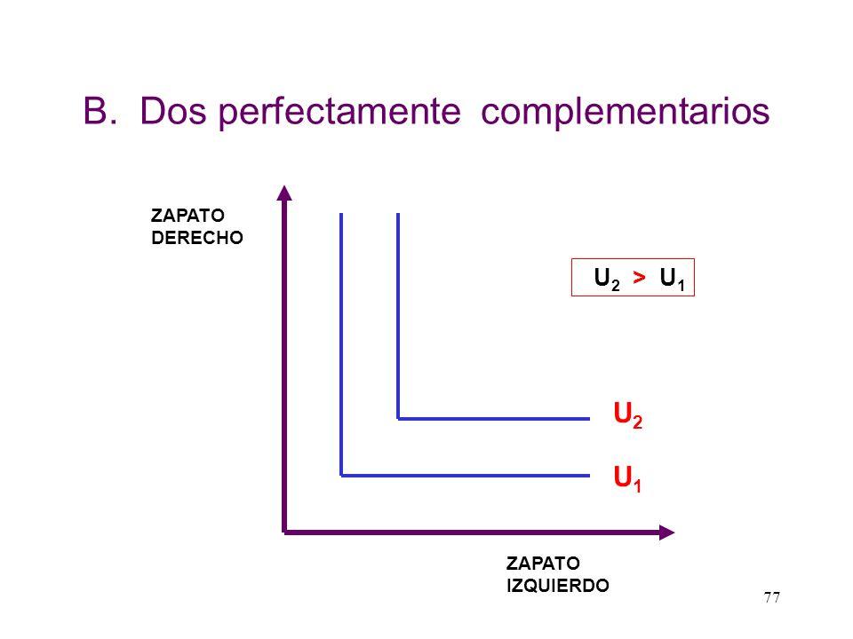 76 B.- DOS PERFECTAMENTE COMPLEMENTARIOS Un bien X es perfectamente complementario a otro bien Y cuando la única manera de consumirlos es en forma con