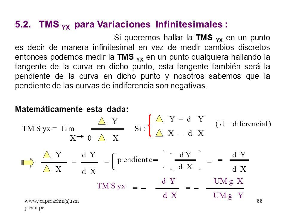 87 5.1.1 TMS DECRECIENTE Se puede observar en nuestro gráfico de la TMS YX que al consumir más unidades del bien X (alimento), el consumidor esta disp
