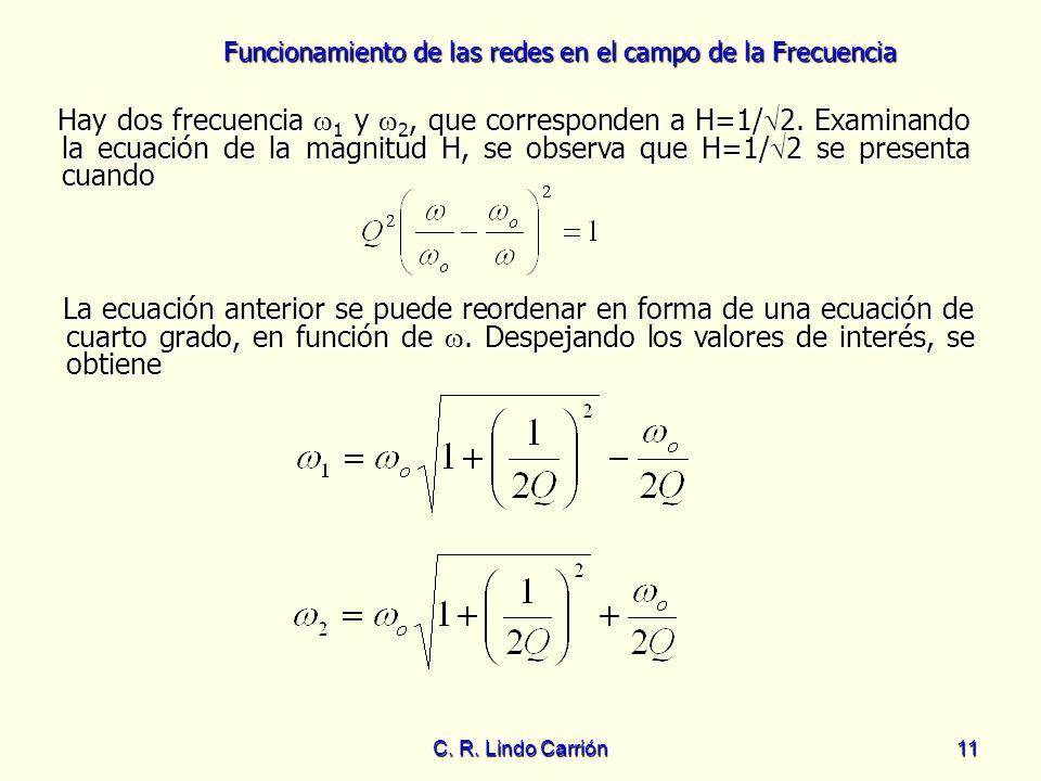 Funcionamiento de las redes en el campo de la Frecuencia C. R. Lindo Carrión11 Hay dos frecuencia 1 y 2, que corresponden a H=1/ 2. Examinando la ecua