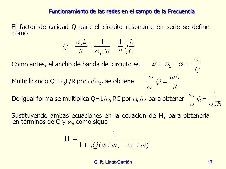Funcionamiento de las redes en el campo de la Frecuencia C. R. Lindo Carrión17 Como antes, el ancho de banda del circuito es Como antes, el ancho de b