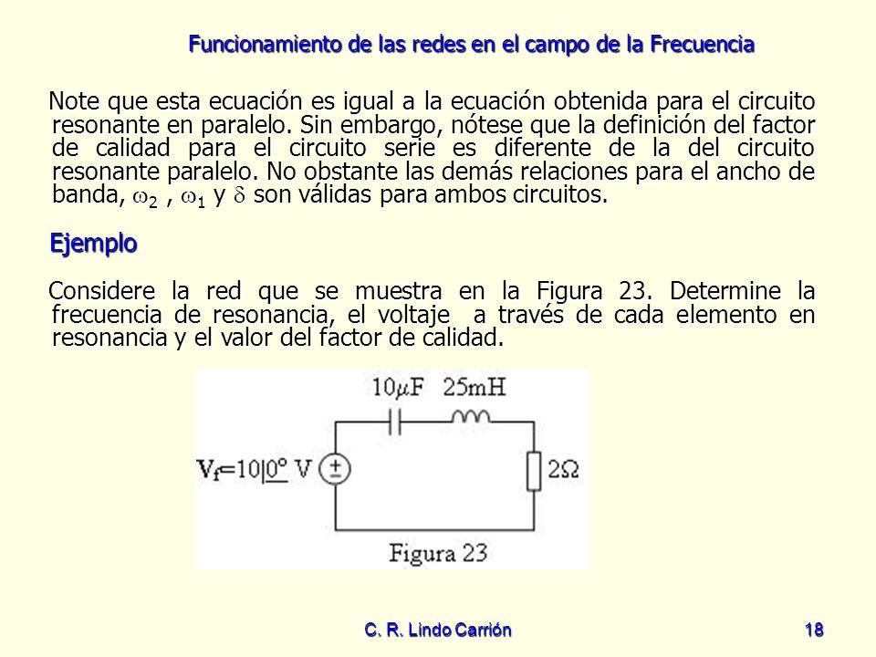 Funcionamiento de las redes en el campo de la Frecuencia C. R. Lindo Carrión18 Note que esta ecuación es igual a la ecuación obtenida para el circuito