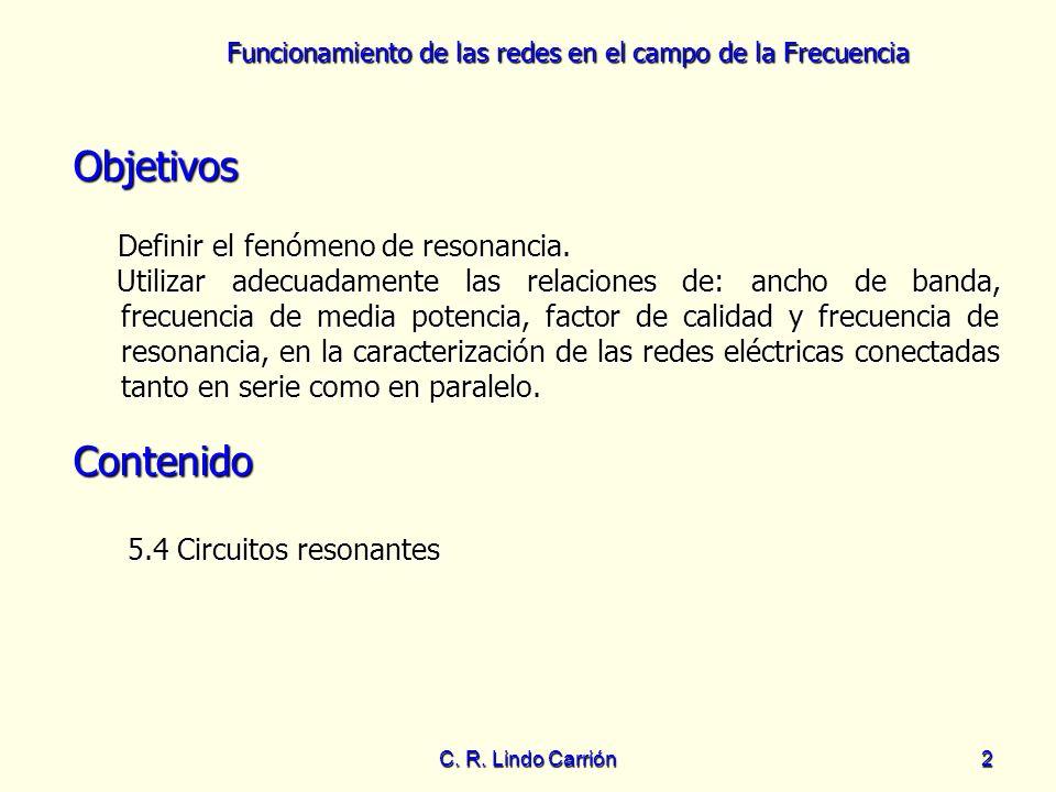 Funcionamiento de las redes en el campo de la Frecuencia C. R. Lindo Carrión2 Objetivos Definir el fenómeno de resonancia. Definir el fenómeno de reso