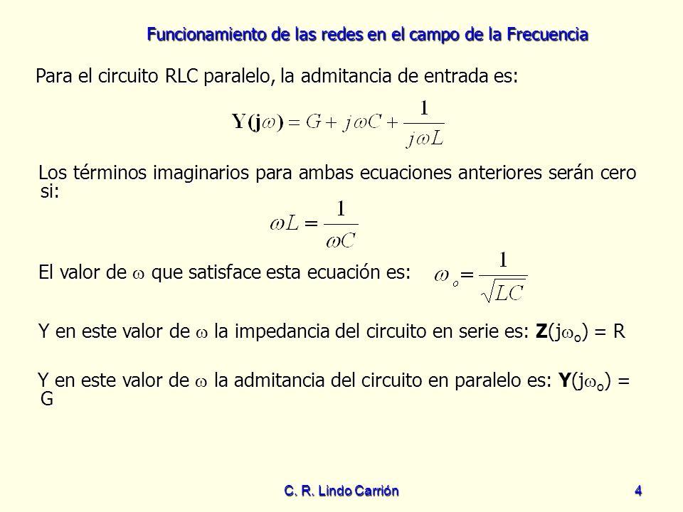 Funcionamiento de las redes en el campo de la Frecuencia C. R. Lindo Carrión4 Los términos imaginarios para ambas ecuaciones anteriores serán cero si: