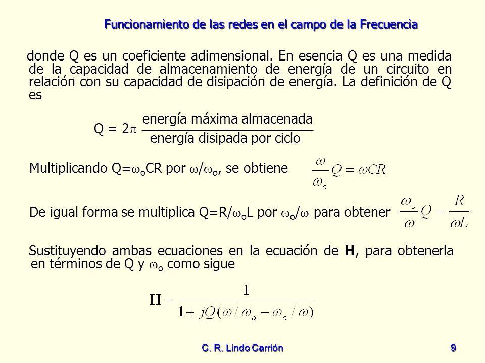 Funcionamiento de las redes en el campo de la Frecuencia C. R. Lindo Carrión9 donde Q es un coeficiente adimensional. En esencia Q es una medida de la