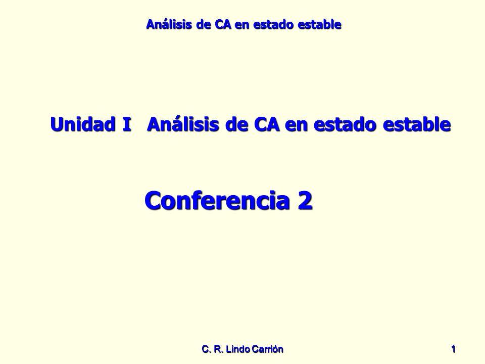 Análisis de CA en estado estable C. R. Lindo Carrión11 Unidad IAnálisis de CA en estado estable Conferencia 2