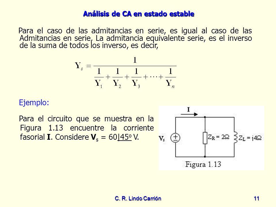 Análisis de CA en estado estable C. R. Lindo Carrión11 Para el caso de las admitancias en serie, es igual al caso de las Admitancias en serie, La admi