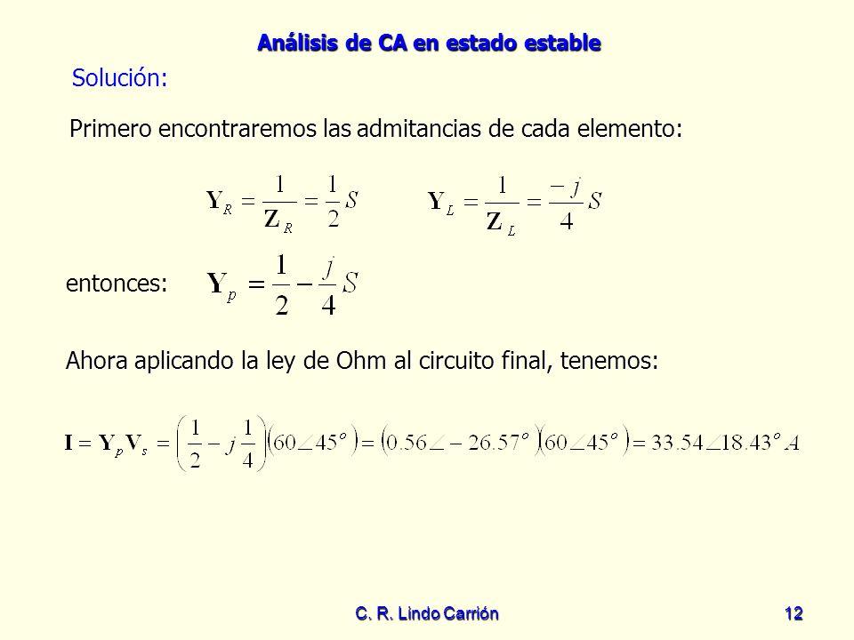 Análisis de CA en estado estable C. R. Lindo Carrión12 Ahora aplicando la ley de Ohm al circuito final, tenemos: Ahora aplicando la ley de Ohm al circ