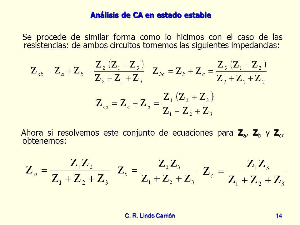 Análisis de CA en estado estable C. R. Lindo Carrión14 Se procede de similar forma como lo hicimos con el caso de las resistencias: de ambos circuitos