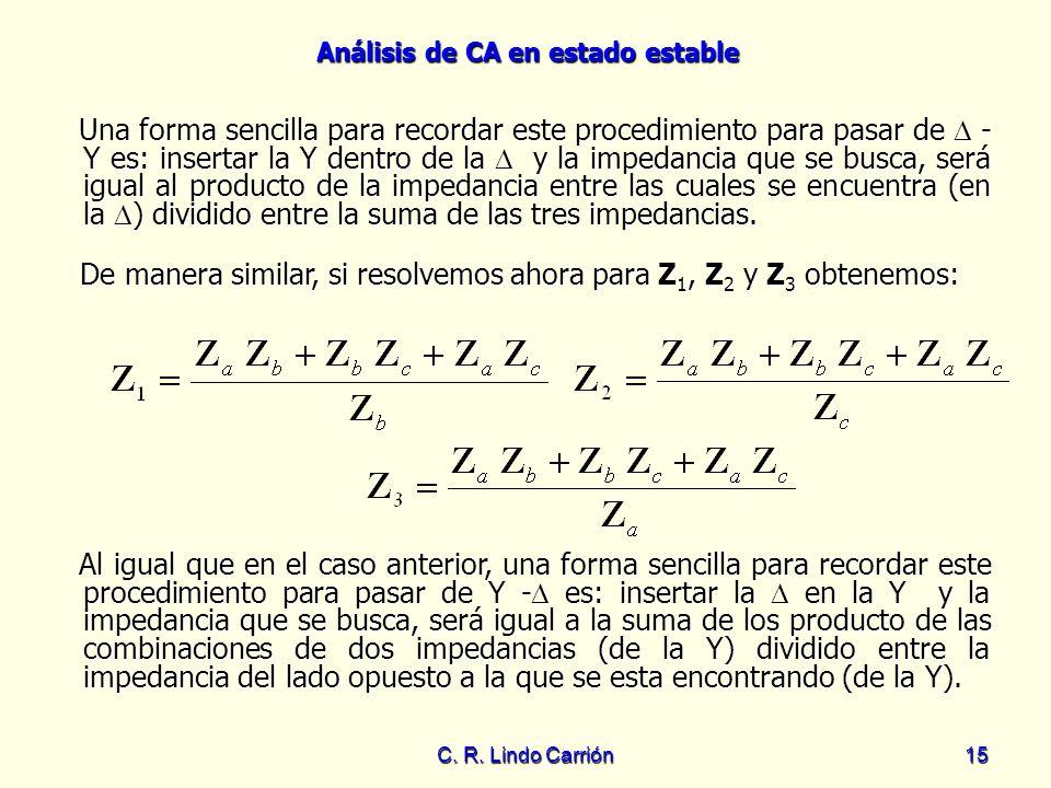 Análisis de CA en estado estable C. R. Lindo Carrión15 Una forma sencilla para recordar este procedimiento para pasar de - Y es: insertar la Y dentro