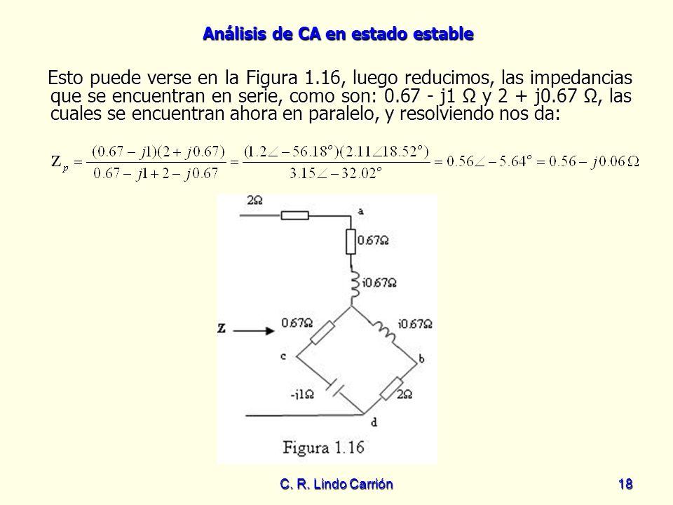 Análisis de CA en estado estable C. R. Lindo Carrión18 Esto puede verse en la Figura 1.16, luego reducimos, las impedancias que se encuentran en serie