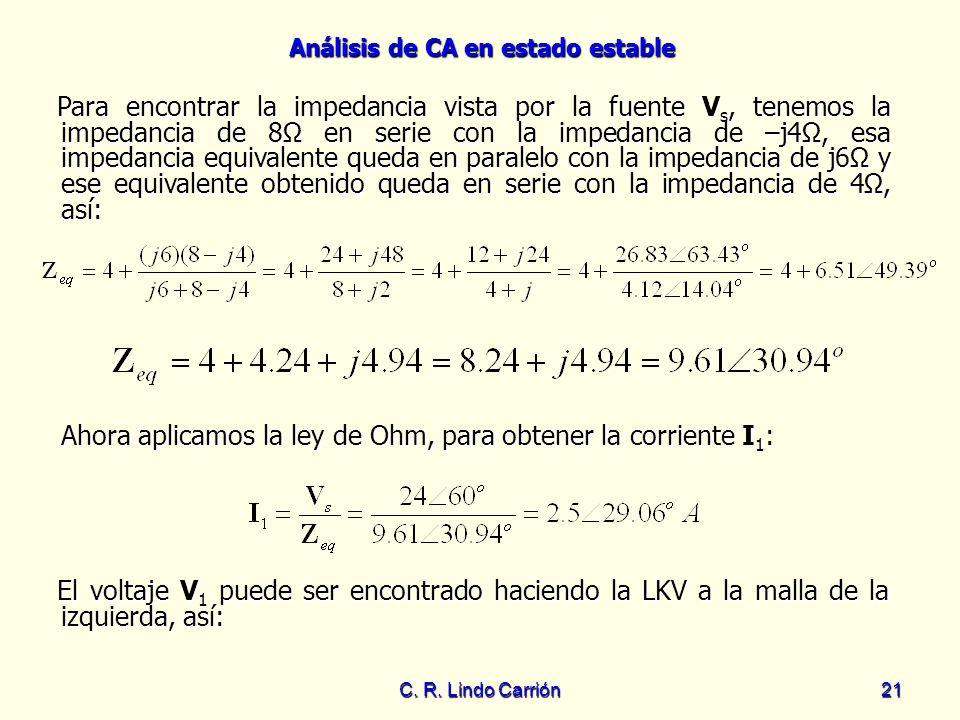Análisis de CA en estado estable C. R. Lindo Carrión21 Para encontrar la impedancia vista por la fuente V s, tenemos la impedancia de 8 en serie con l