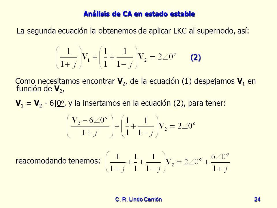 Análisis de CA en estado estable C. R. Lindo Carrión24 La segunda ecuación la obtenemos de aplicar LKC al supernodo, así: La segunda ecuación la obten
