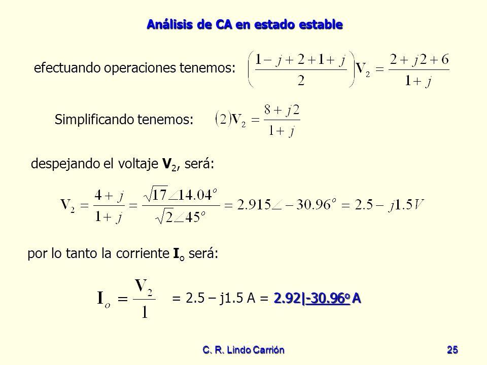 Análisis de CA en estado estable C. R. Lindo Carrión25 efectuando operaciones tenemos: efectuando operaciones tenemos: despejando el voltaje V 2, será