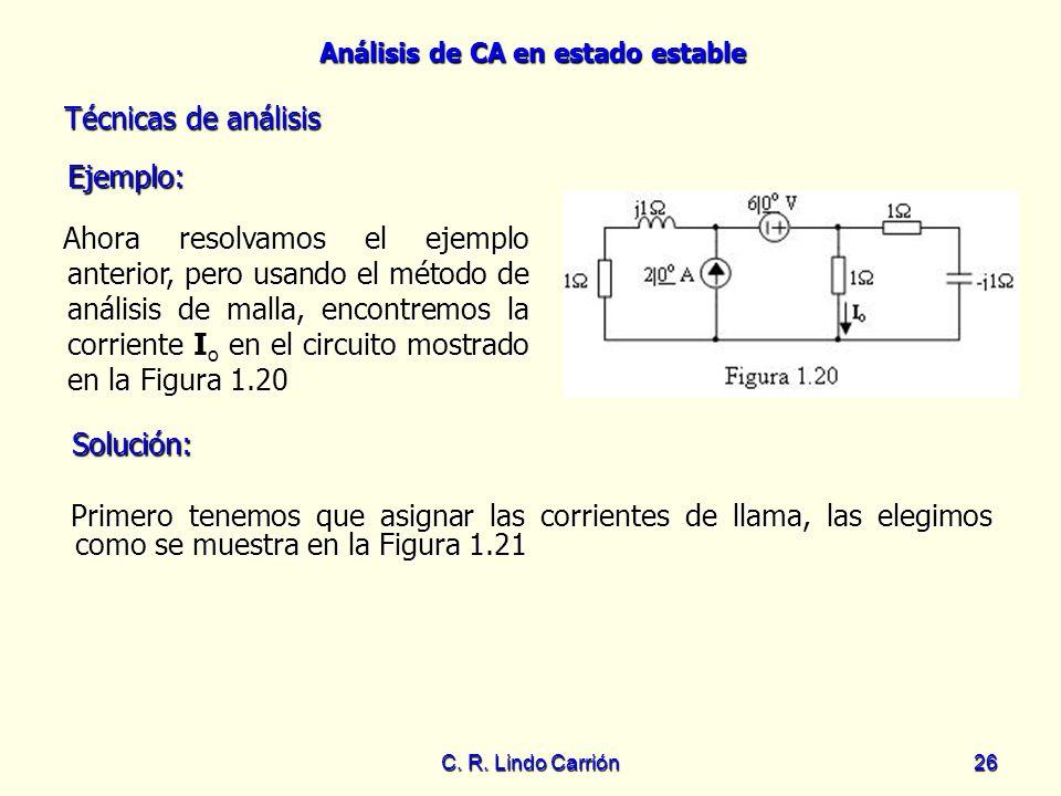 Análisis de CA en estado estable C. R. Lindo Carrión26 Ahora resolvamos el ejemplo anterior, pero usando el método de análisis de malla, encontremos l