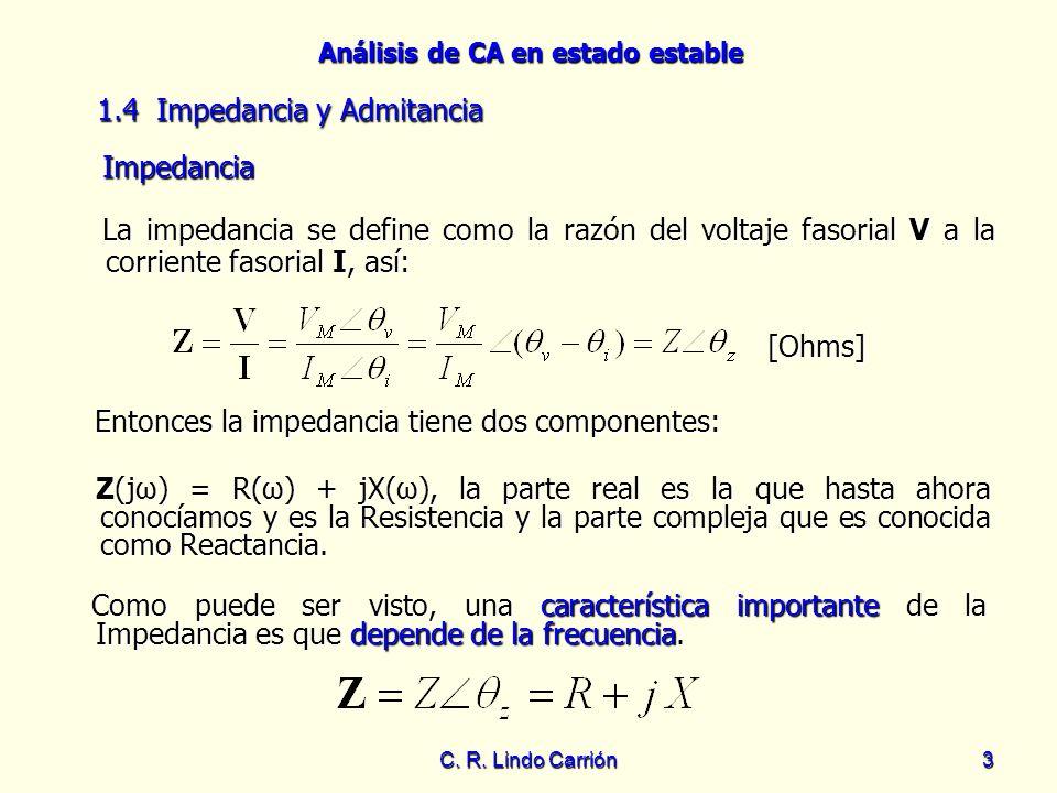Análisis de CA en estado estable C. R. Lindo Carrión3 La impedancia se define como la razón del voltaje fasorial V a la corriente fasorial I, así: La