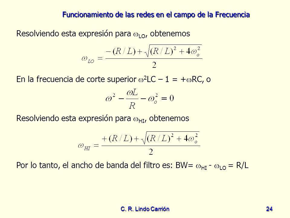 Funcionamiento de las redes en el campo de la Frecuencia C. R. Lindo Carrión24 Resolviendo esta expresión para LO, obtenemos Resolviendo esta expresió