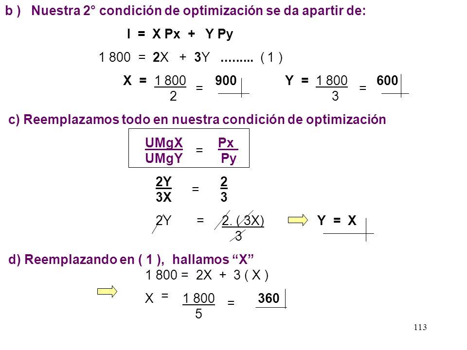 112 Ejemplo: Hallar el punto óptimo para un consumidor que tiene: - Una función de utilidad igual U = X 2 Y 3 - Un ingreso S/. 1 800 - Los precios son
