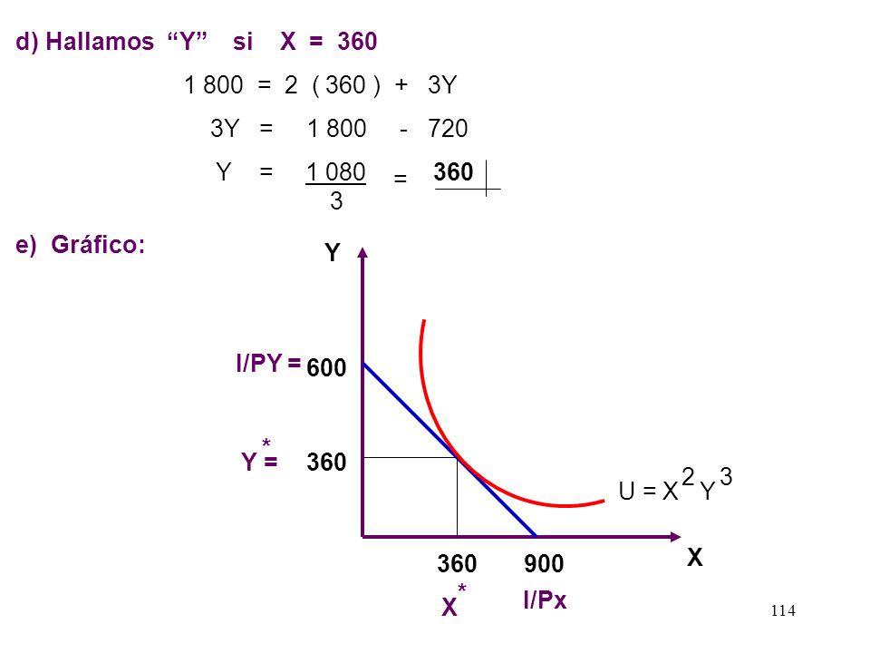 113 b ) Nuestra 2° condición de optimización se da apartir de: I = X Px + Y Py 1 800 = 2X + 3Y......... ( 1 ) X = 1 800 900Y = 1 800 600 23 c) Reempla