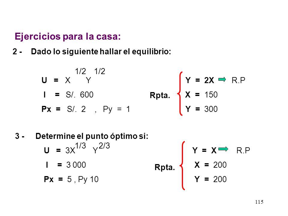 114 d) Hallamos Y si X = 360 1 800 = 2 ( 360 ) + 3Y 3Y = 1 800 - 720 Y = 1 080 360 3 e) Gráfico: = 360 900 600 Y X U = X Y 23 I/PY = Y = * I/Px X *