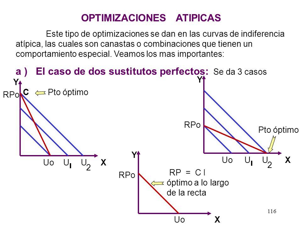 115 Ejercicios para la casa: 2 - Dado lo siguiente hallar el equilibrio: U = X Y Y = 2X R.P I = S/. 600 X = 150 Px = S/. 2, Py = 1Y = 300 1/2 Rpta. 3
