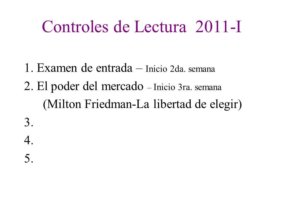 2 EVALUACIÓN CICLO 2 011 - I : Intervenciones en Clase Controles de Lectura (4) Practica Calificada Trabajo de Investigación 1. Notas del Profesor N.P