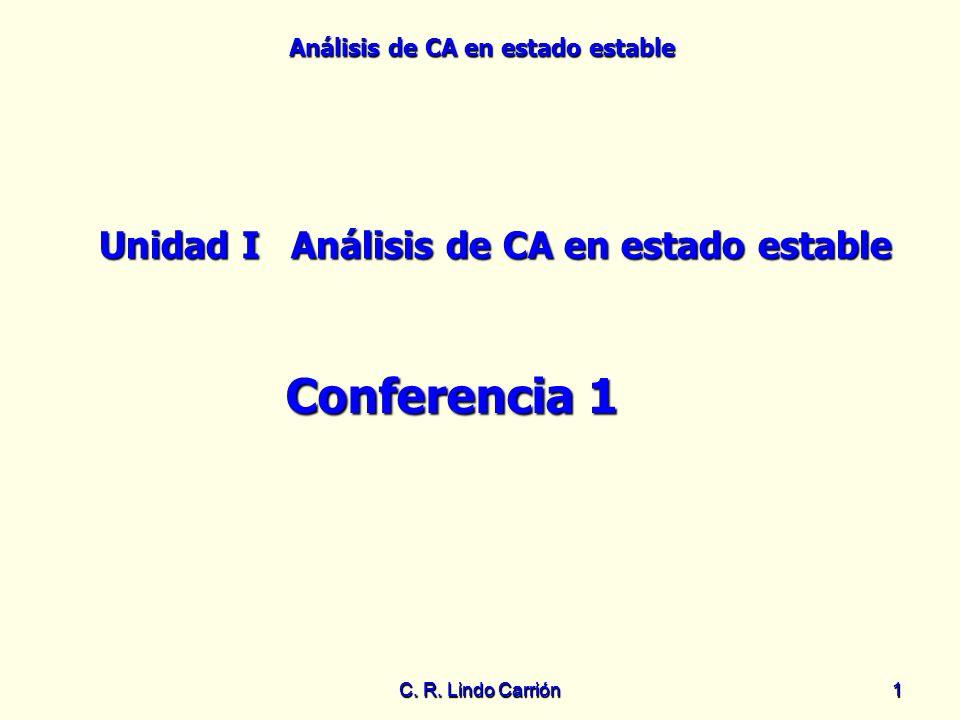 Análisis de CA en estado estable C. R. Lindo Carrión11 Unidad IAnálisis de CA en estado estable Conferencia 1