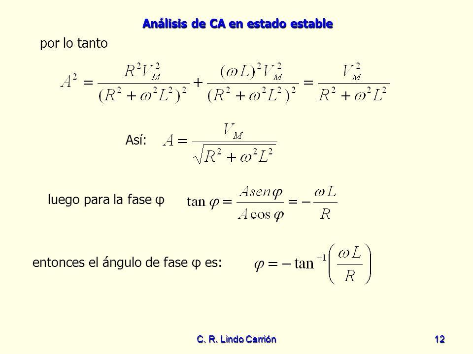 Análisis de CA en estado estable C. R. Lindo Carrión12 luego para la fase φ Así: por lo tanto entonces el ángulo de fase φ es:
