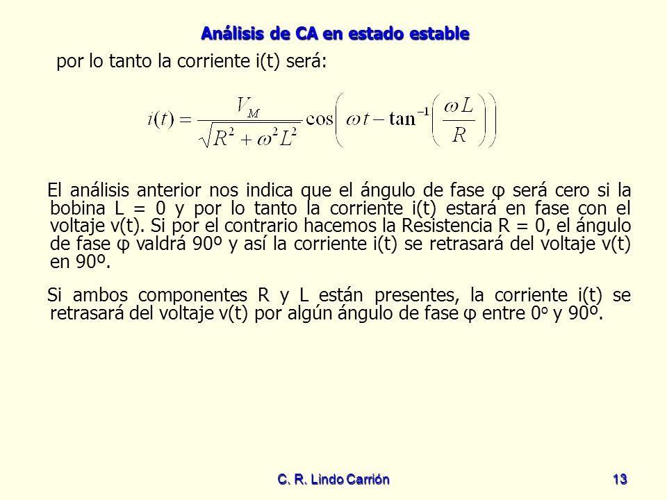 Análisis de CA en estado estable C. R. Lindo Carrión13 El análisis anterior nos indica que el ángulo de fase φ será cero si la bobina L = 0 y por lo t