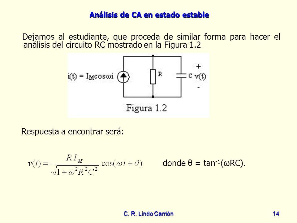 Análisis de CA en estado estable C. R. Lindo Carrión14 Dejamos al estudiante, que proceda de similar forma para hacer el análisis del circuito RC most