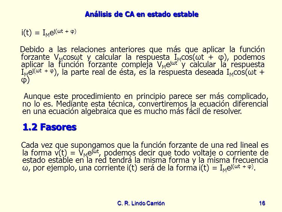 Análisis de CA en estado estable C. R. Lindo Carrión16 Debido a las relaciones anteriores que más que aplicar la función forzante V M cosωt y calcular