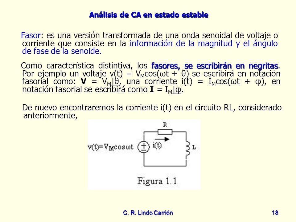 Análisis de CA en estado estable C. R. Lindo Carrión18 Fasor: es una versión transformada de una onda senoidal de voltaje o corriente que consiste en