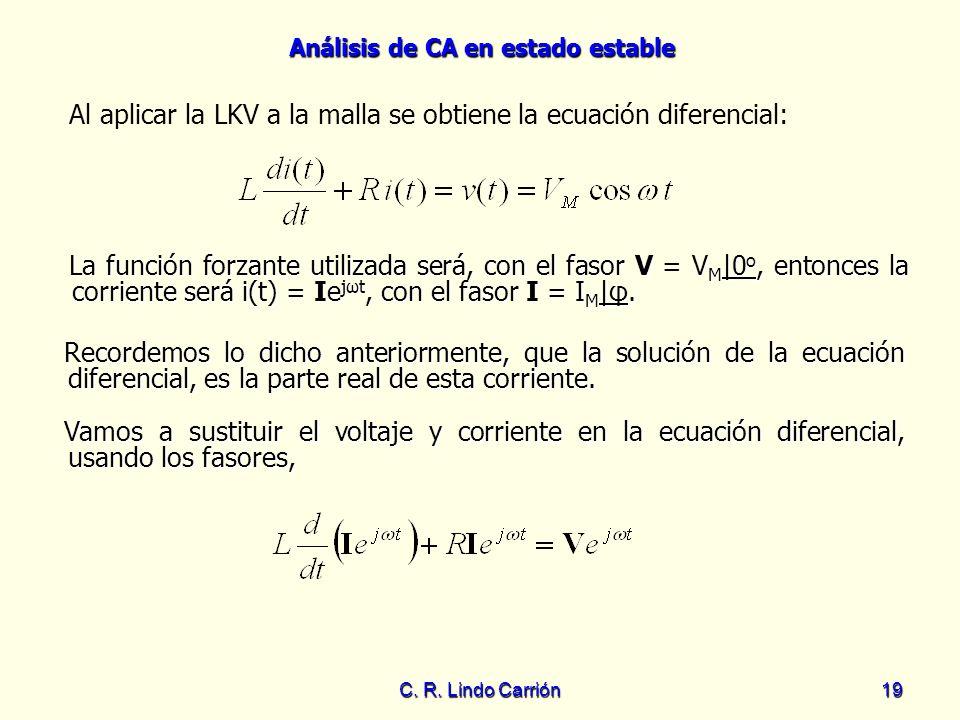 Análisis de CA en estado estable C. R. Lindo Carrión19 Al aplicar la LKV a la malla se obtiene la ecuación diferencial: Recordemos lo dicho anteriorme