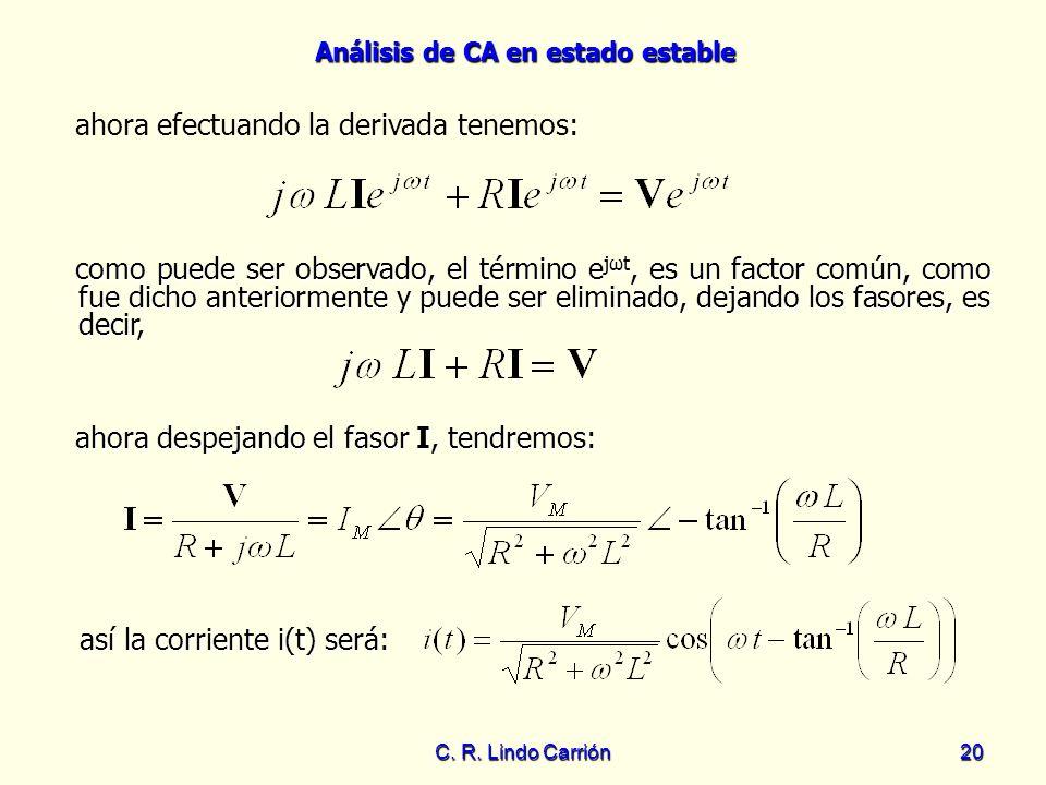 Análisis de CA en estado estable C. R. Lindo Carrión20 ahora efectuando la derivada tenemos: ahora despejando el fasor I, tendremos: ahora despejando