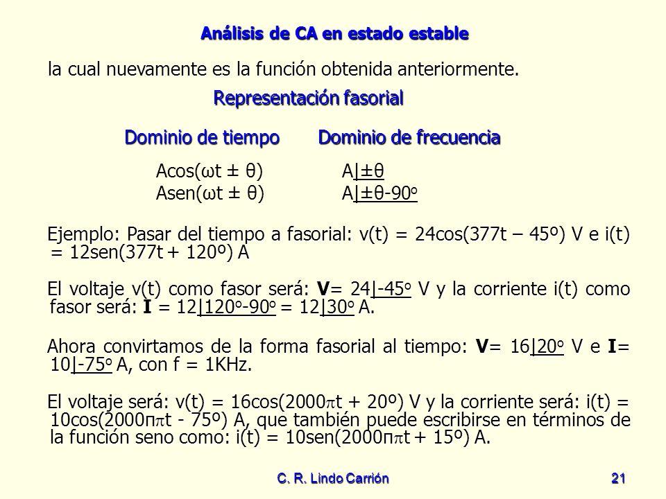 Análisis de CA en estado estable C. R. Lindo Carrión21 la cual nuevamente es la función obtenida anteriormente. la cual nuevamente es la función obten