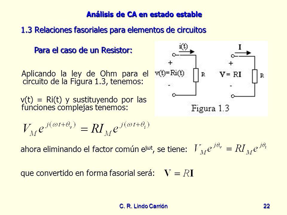 Análisis de CA en estado estable C. R. Lindo Carrión22 1.3 Relaciones fasoriales para elementos de circuitos 1.3 Relaciones fasoriales para elementos