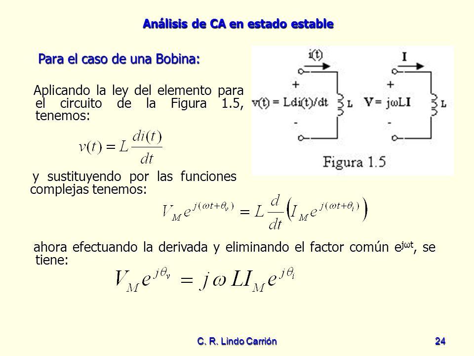 Análisis de CA en estado estable C. R. Lindo Carrión24 Aplicando la ley del elemento para el circuito de la Figura 1.5, tenemos: Aplicando la ley del