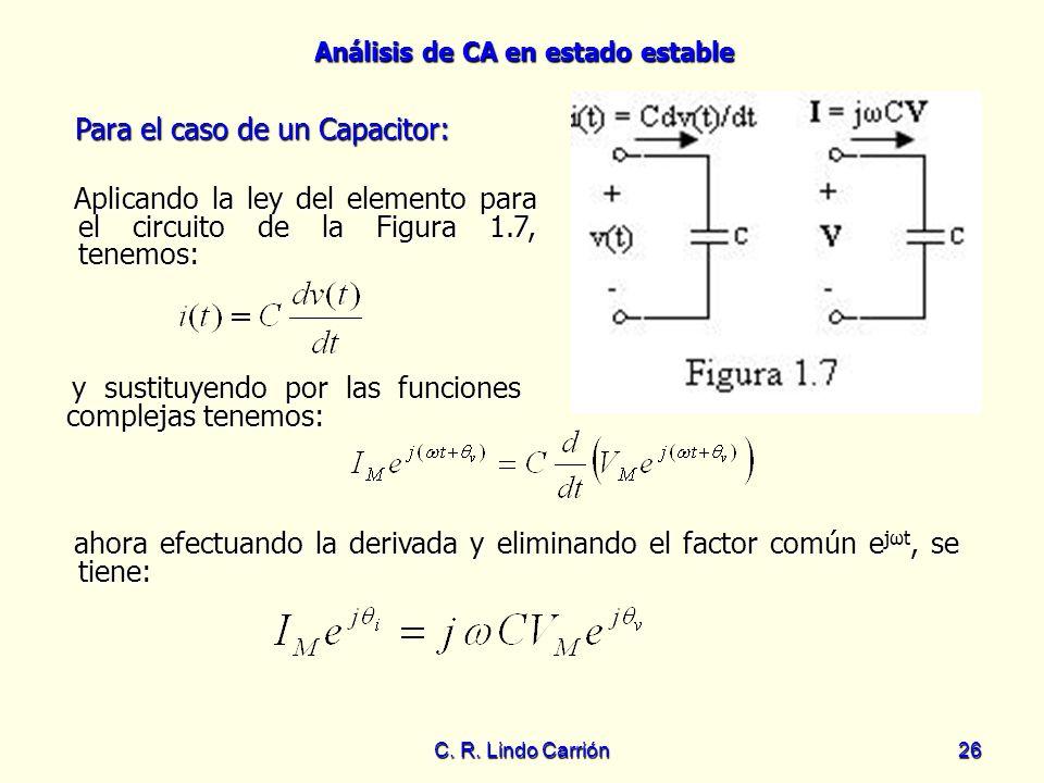 Análisis de CA en estado estable C. R. Lindo Carrión26 Aplicando la ley del elemento para el circuito de la Figura 1.7, tenemos: Aplicando la ley del