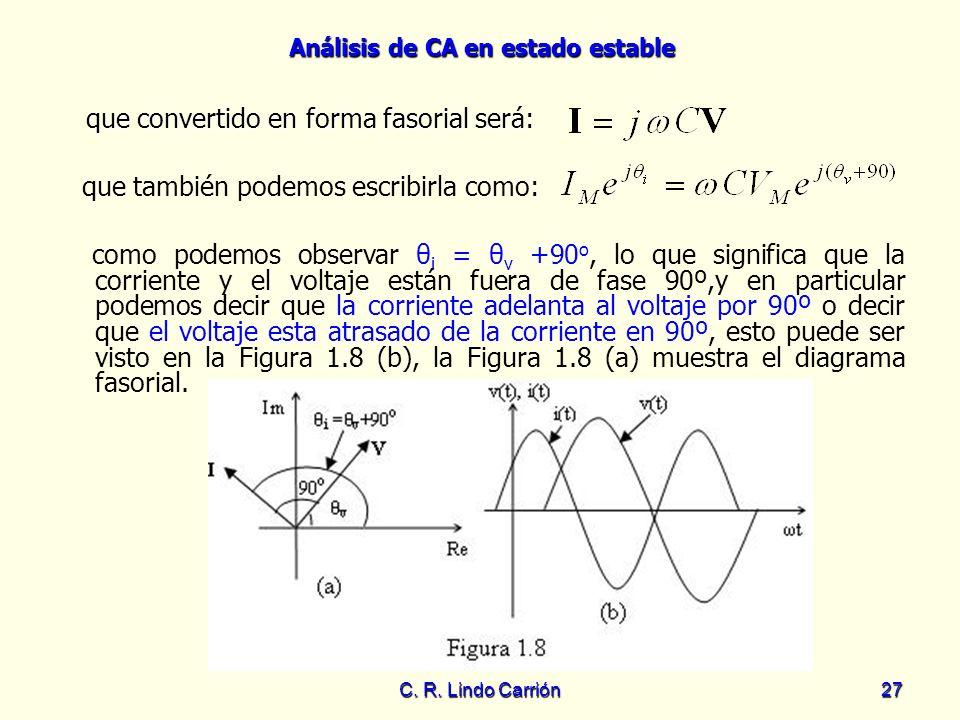 Análisis de CA en estado estable C. R. Lindo Carrión27 que convertido en forma fasorial será: que convertido en forma fasorial será: que también podem
