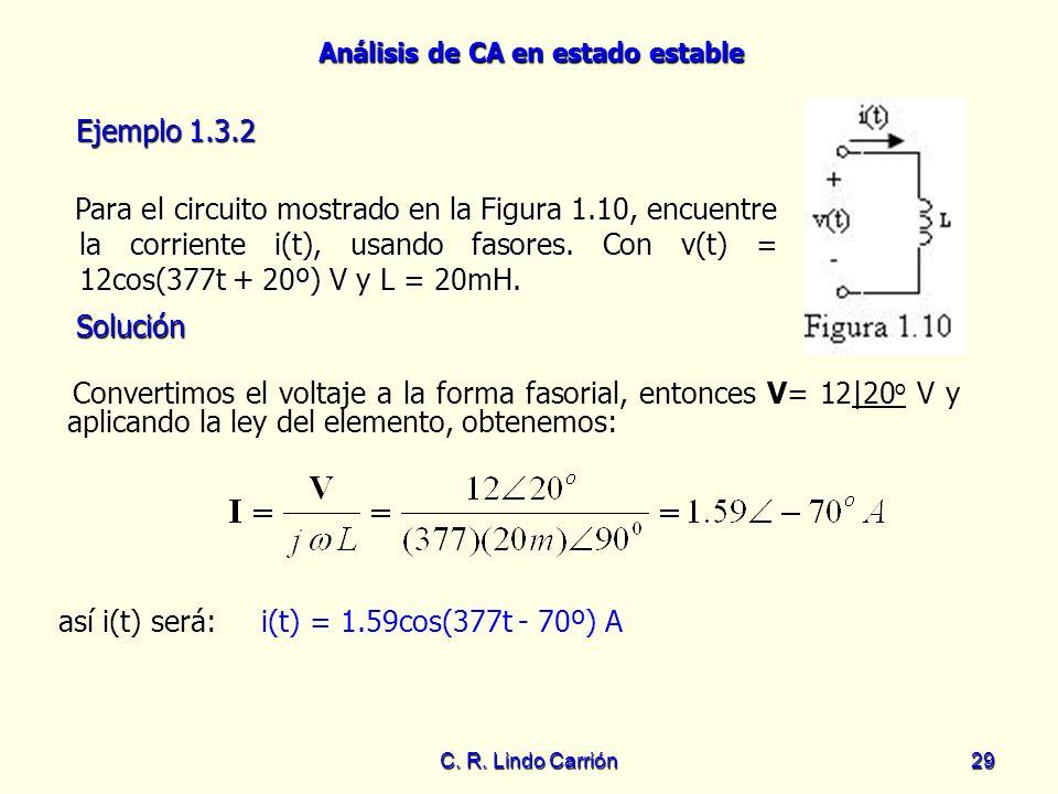 Análisis de CA en estado estable C. R. Lindo Carrión29 Para el circuito mostrado en la Figura 1.10, encuentre la corriente i(t), usando fasores. Con v