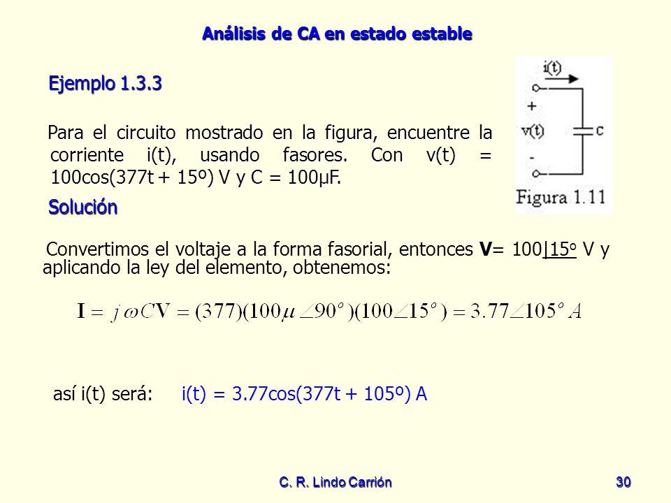 Análisis de CA en estado estable C. R. Lindo Carrión30 Para el circuito mostrado en la figura, encuentre la corriente i(t), usando fasores. Con v(t) =