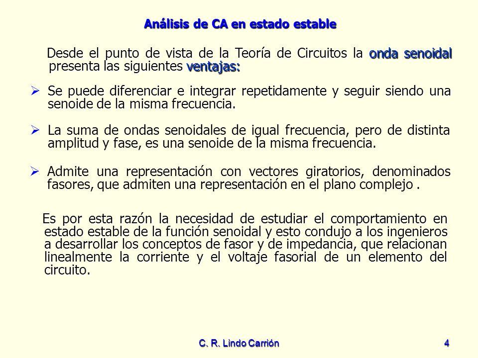 Análisis de CA en estado estable C. R. Lindo Carrión4 Se puede diferenciar e integrar repetidamente y seguir siendo una senoide de la misma frecuencia
